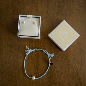 Jersey pearl earrings and pearl charm bracelet wedding details