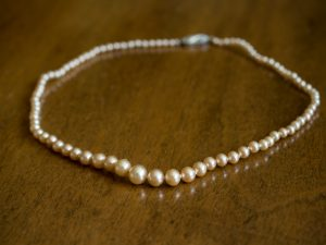 Pearl necklace family heirloom wedding details