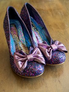 Sparkly purple shoes by Irregular Choice worn by bride on her wedding day