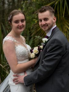 Bride and groom outside Marwell Hotel