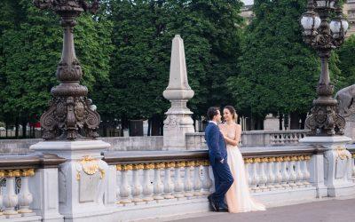 Destination wedding shoots on the Pont Alexandre III in Paris
