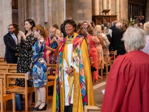 The Reverend Brian Taphouse walks down the nave at the end of a wedding service