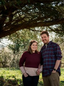 Rural Hampshire engagement shoot – backlit couple beneath tree