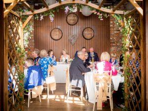 Rustic barn wedding reception at the Three Tuns, Bransgore