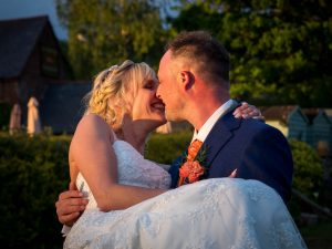bride and groom at The Three Tuns, Bransgore