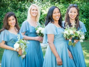 Bridesmaids in the garden at a Gordleton Mill wedding