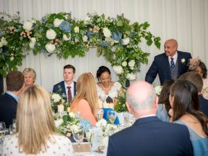 Father of the bride makes his speech during a  Gordleton Mill wedding reception