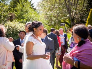 Bride with guest at a Gordleton Mill wedding