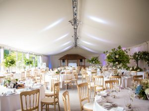 The marquee at Gordleton Mill decorated for a wedding reception