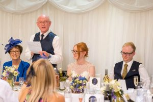 Father of the bride gives his speech during a  Marwell Hotel wedding reception