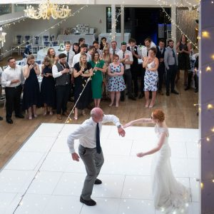 Bride and her father dance at her Marwell Hotel wedding reception
