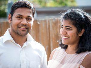 Indian woman looks adoringly at husband