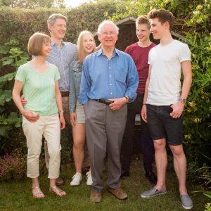 Family portrait in Romsey cottage garden garden