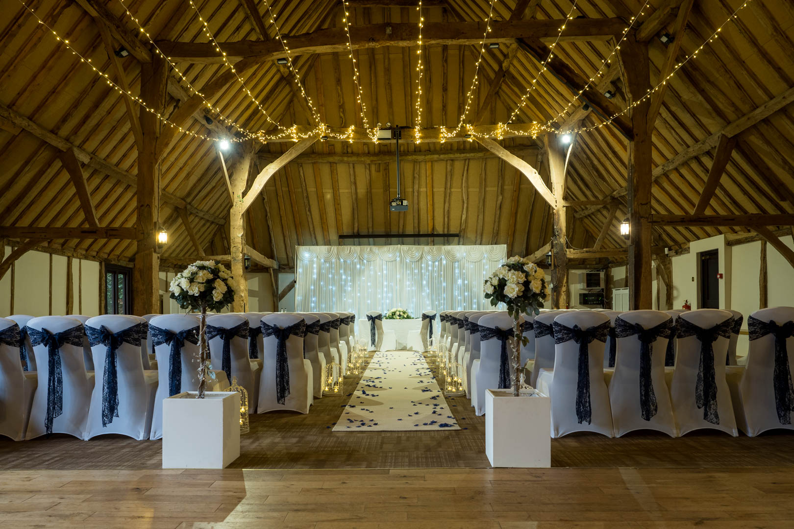 Tithe Barn at Norton Park decorated for a wedding