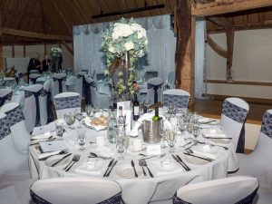 The Tithe Barn at Norton Park prepared for a wedding breakfast