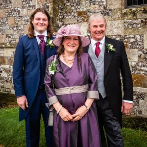 Wedding guests outside an English country church