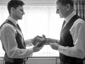 Bridegroom gives his Best Man a bottle of Haig Club whisky