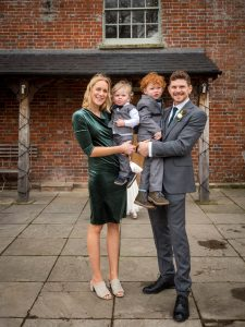 Best man and his family at a wedding at Sopley Mill