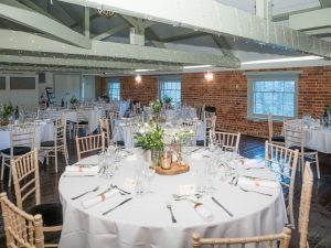 Table laid for wedding breakfast at Sopley Mill