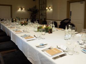 Long table laid for dinner in the Hotel du Vin, Winchester