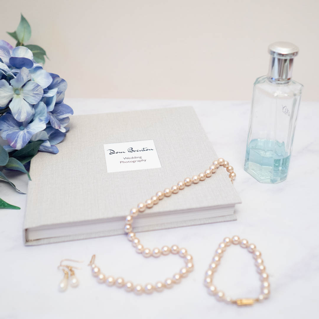 Linen-covered wedding album from Dom Brenton Photography
