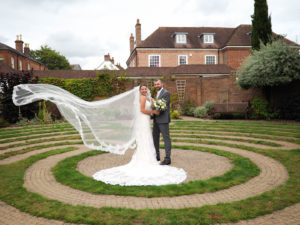 'Newlywed' couple at the labyrinth, Wisdom House, Romsey – Dom Brenton Photography