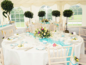 Vintage wedding styling in The Orangery Suite marquee