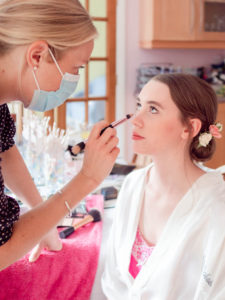 Michaela being made up for her wedding