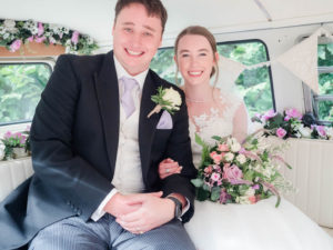 Michaela and Rupert in Lillie, the VW camper van from Dorset Dubhire hired as their  wedding transport