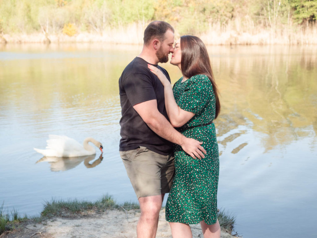 Couple on engagement photo session, about to kiss as a swan passes by on Ham Common lake, Poole Harbour, Dorset