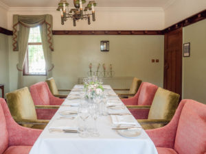 The Paris Room in The Montagu Arms, Beaulieu, set for an intimate wedding breakfast