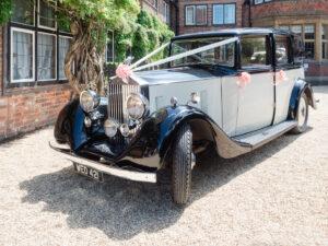 Vintage Rolls Royce outside The Montagu Arms, Beaulieu
